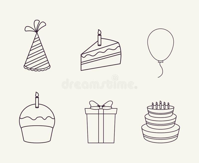 Happy birthday design. Icon set of happy birthday concept over white background, vector illustration royalty free illustration