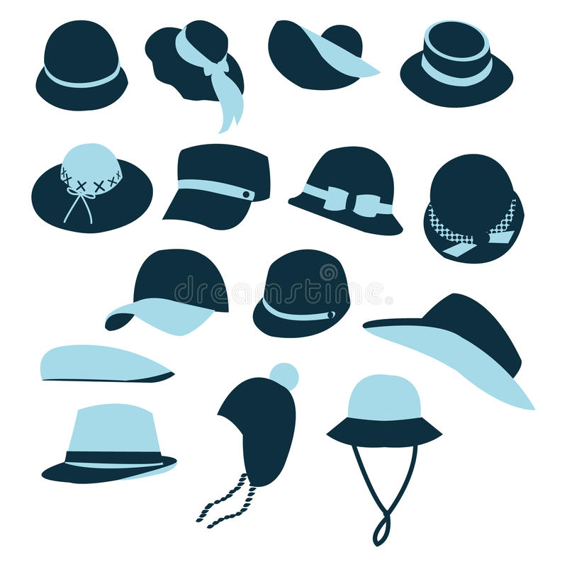 Download Icon Set  Of Hats Black Silhouette-illustration Stock Vector - Image: 40004022