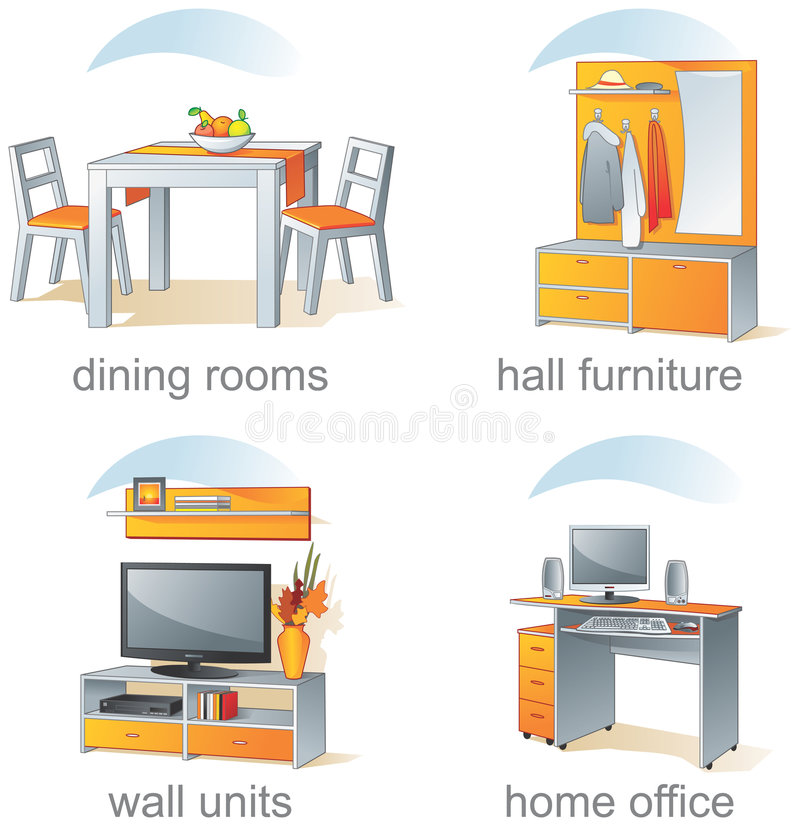 Icon set, home furniture items royalty free illustration