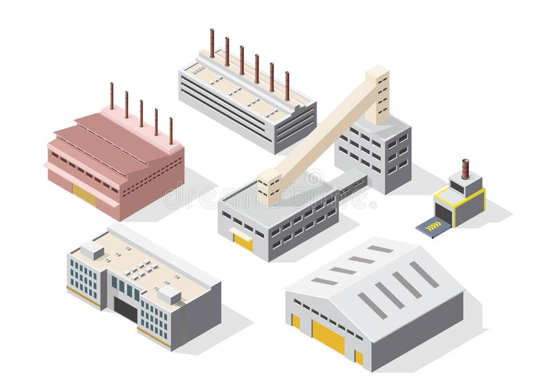 Icon set of isometric industrial or factory building vector illustration