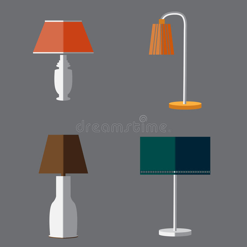 Icon set of Lamps. Modern Flat style. Vector vector illustration