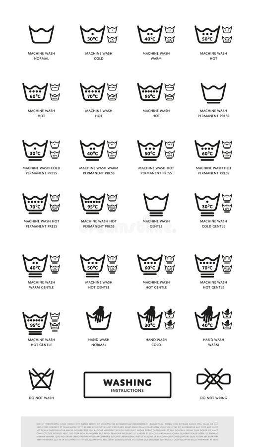 Icon set of laundry symbols, vector illustration royalty free illustration
