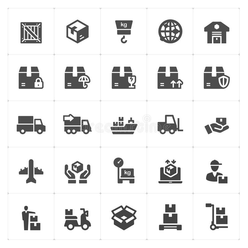 Icon set - logistic and delivery filled icon style vector royalty free illustration