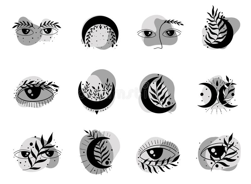 Icon set moon eyes symbol.Logo beauty elegant royalty free illustration