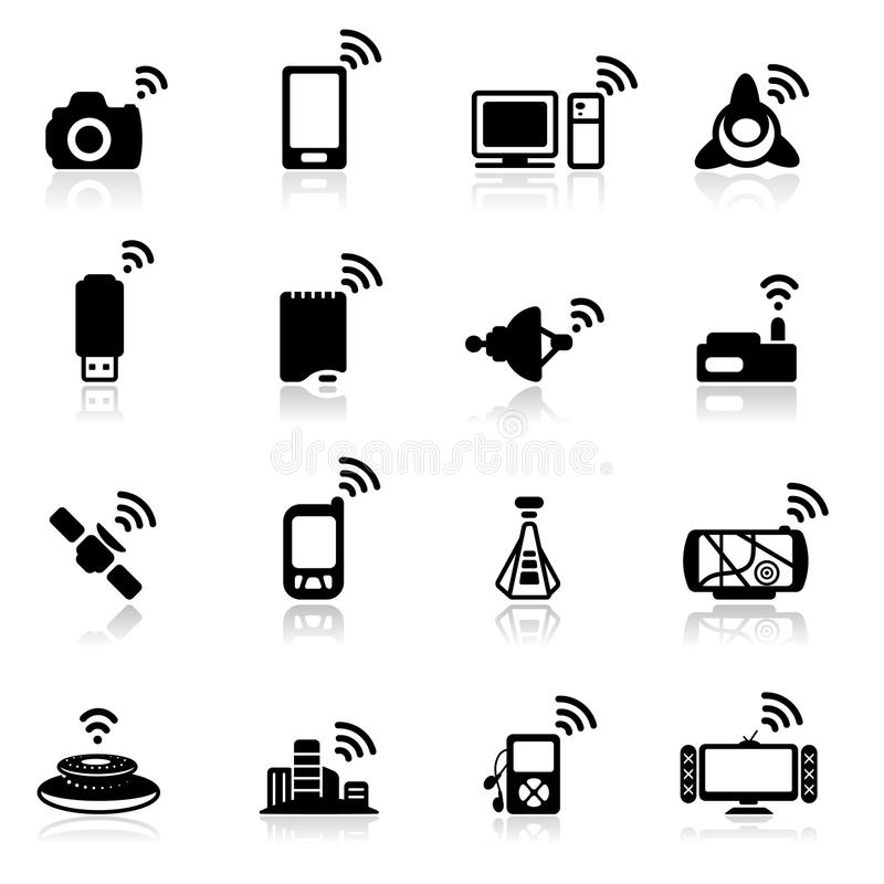 Download Icon set  Network stock vector. Image of player, server - 18594706