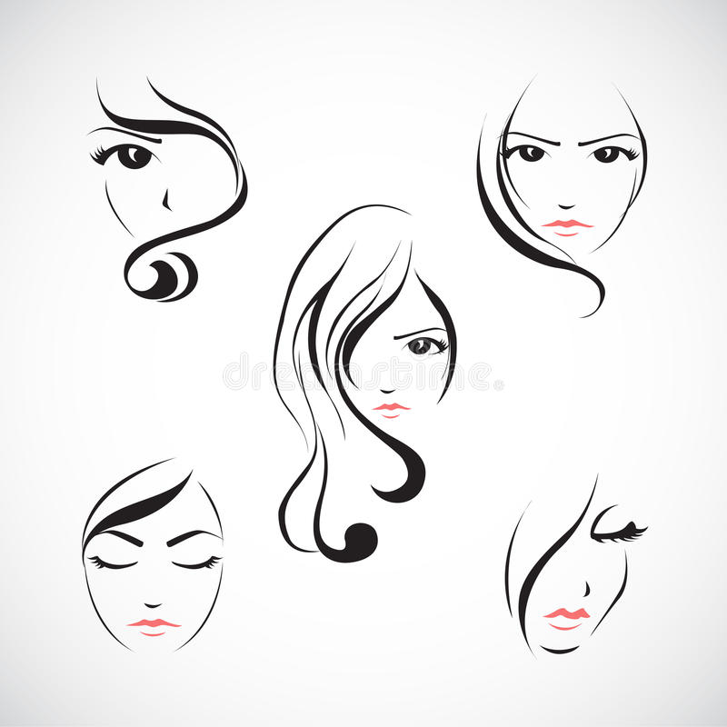 Free Icon Set Of Beautiful Womans Face Royalty Free Stock Image - 42440186
