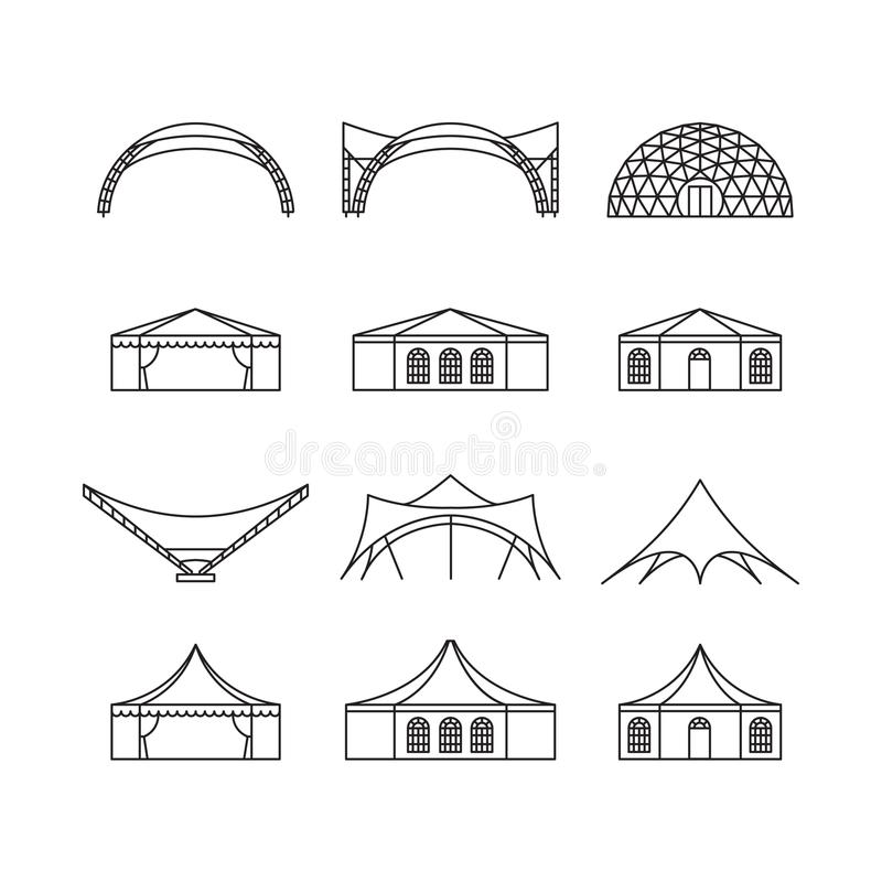 Free Icon Set Of Various Types Event Tent. Folding Tent, Canvas Roof, Wedding Tent, Canopy. Vector Illustration. Royalty Free Stock Photo - 110496135