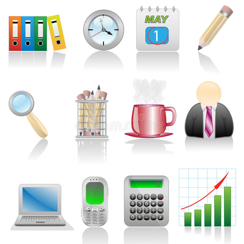 Download Icon set-Office stock vector. Image of green, blue, customer - 11334607