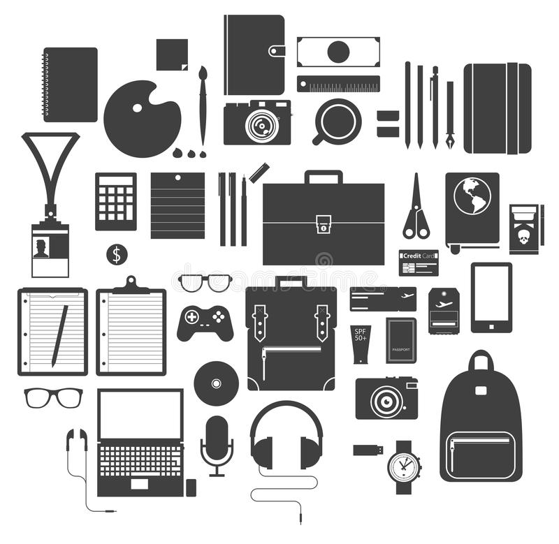 Icon Set of Office Equipment, Travel Gadget and Hobby in Flat Design, Vector vector illustration
