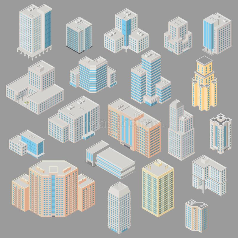 Icon set ofice, apartment buildings stock illustration