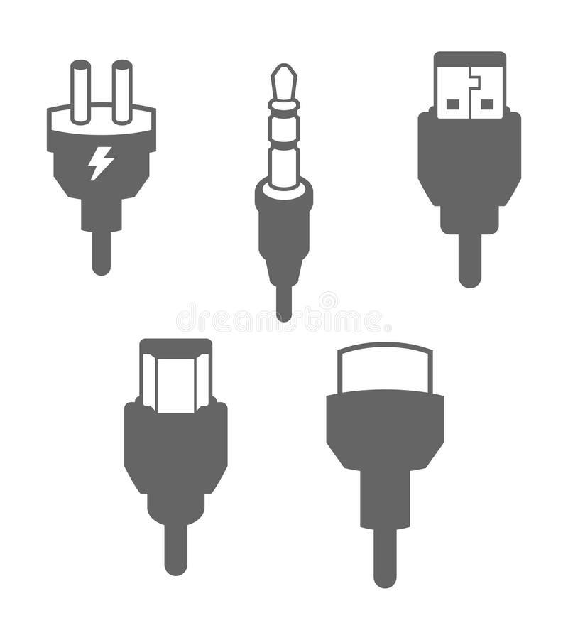 plug and socket line icon set  included the icons as electrical plug  usb  socket  audio jack