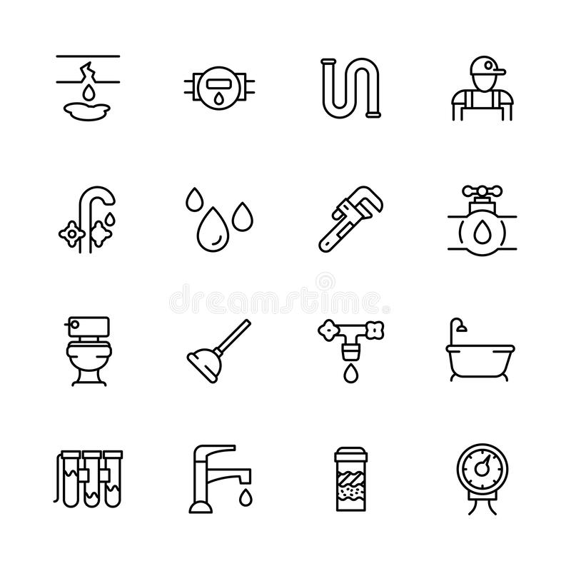 Icon set repair and plumbing. Contains such symbols pipes, piping, faucet, toilet, bathtub in bath room, water filter. Water purification, counter, ventus and vector illustration