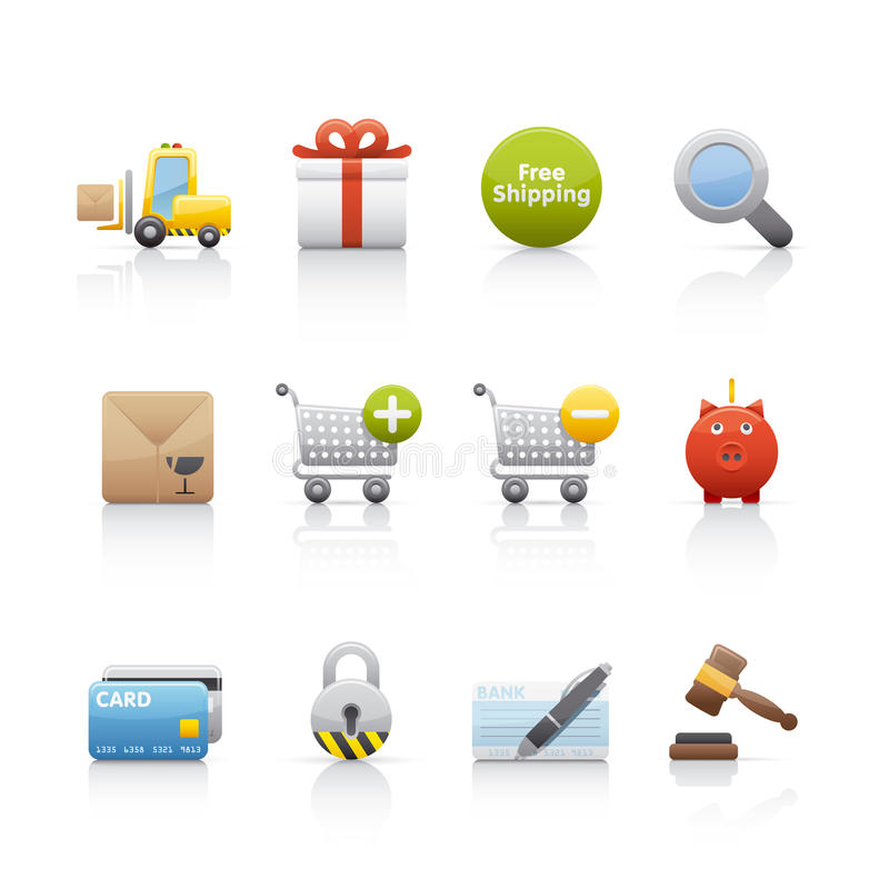 Download Icon Set - Shopping stock vector. Image of colour, check - 11433698