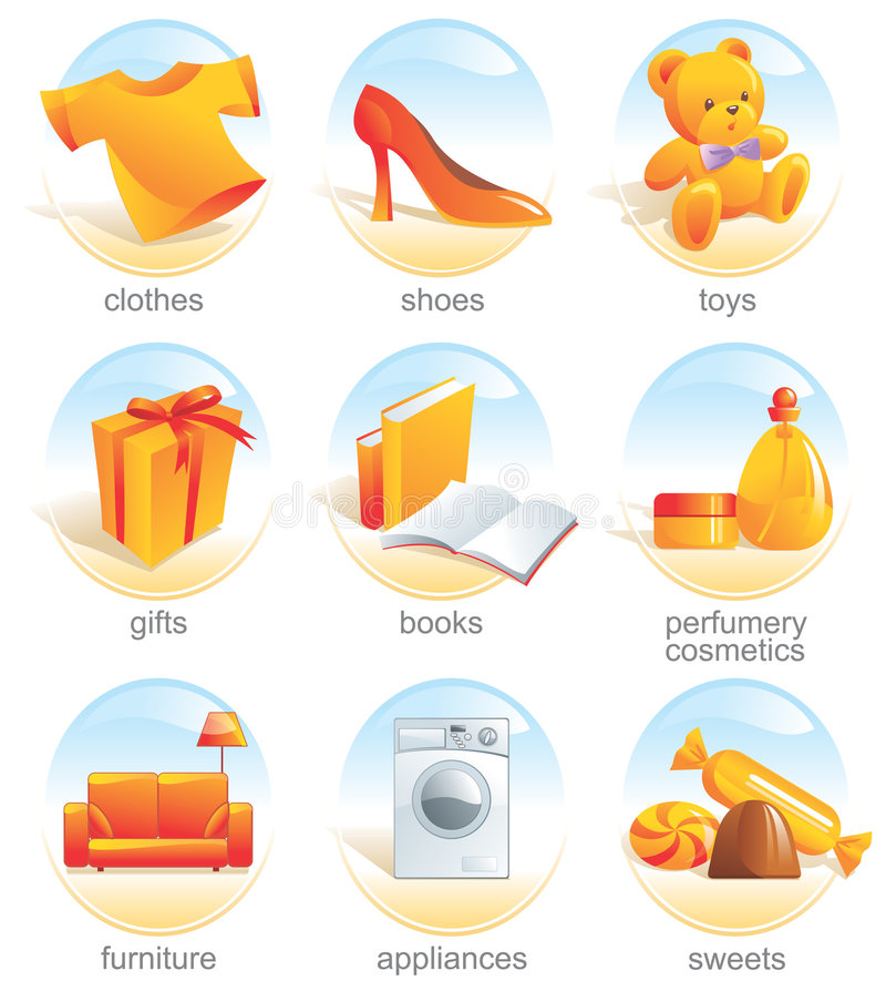 Download Icon set - shopping. Aqua stock vector. Image of furniture - 3432674