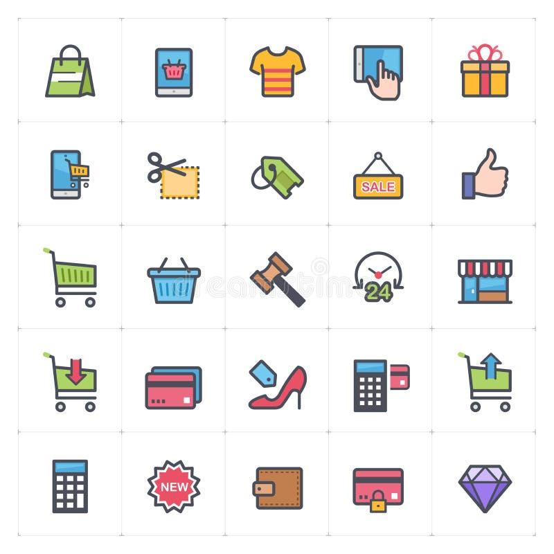 Icon set - shopping and commerce full color outline stroke stock illustration