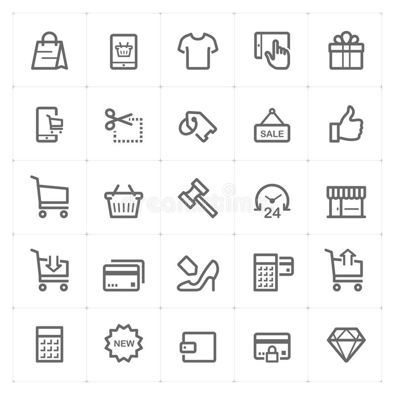 Icon set - shopping and commerce outline stroke royalty free illustration