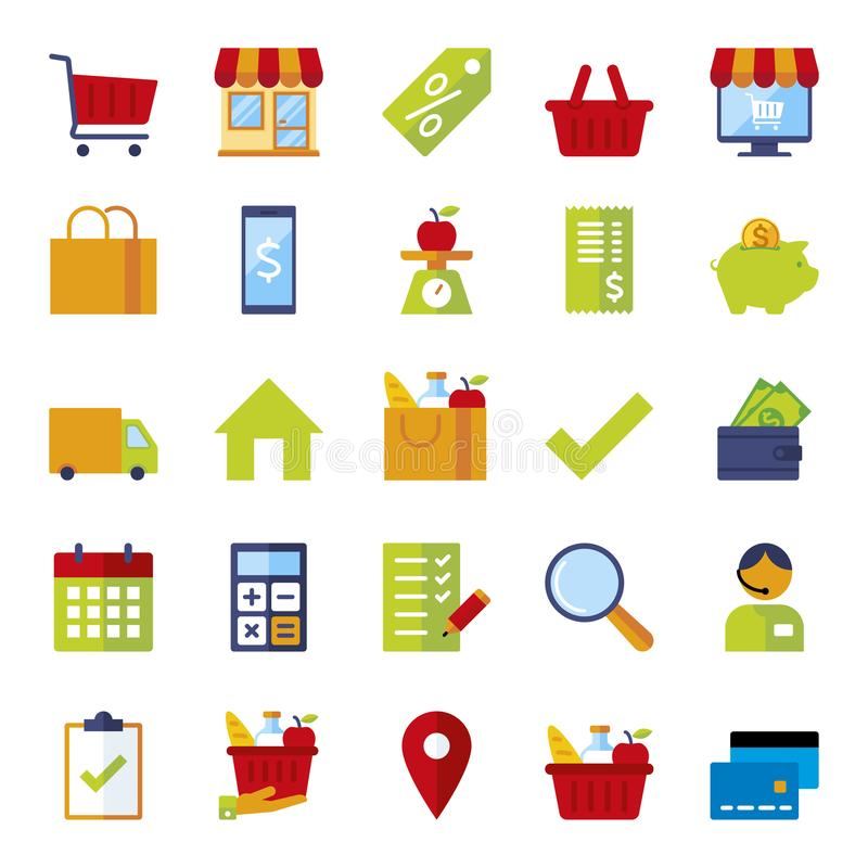 Icon set for shops and supermarkets. Set of icons for stores and supermarkets, flat icons colorfull royalty free illustration