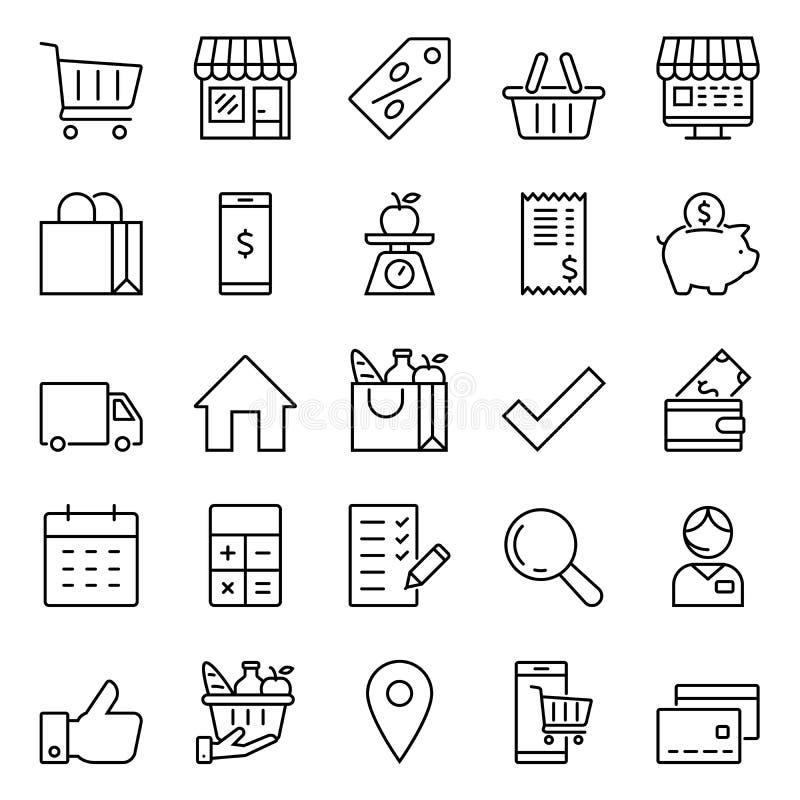 Icon set for shops and supermarkets. Set of icons for stores and supermarkets, linear icons stock illustration