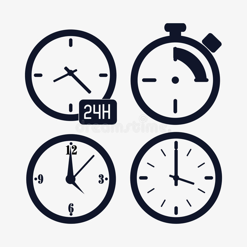Icon set of silhouette Clocks. Time design. Vector graphic. Time concept represented by icon set of silhouette Clocks. Isolated and flat illustration vector illustration