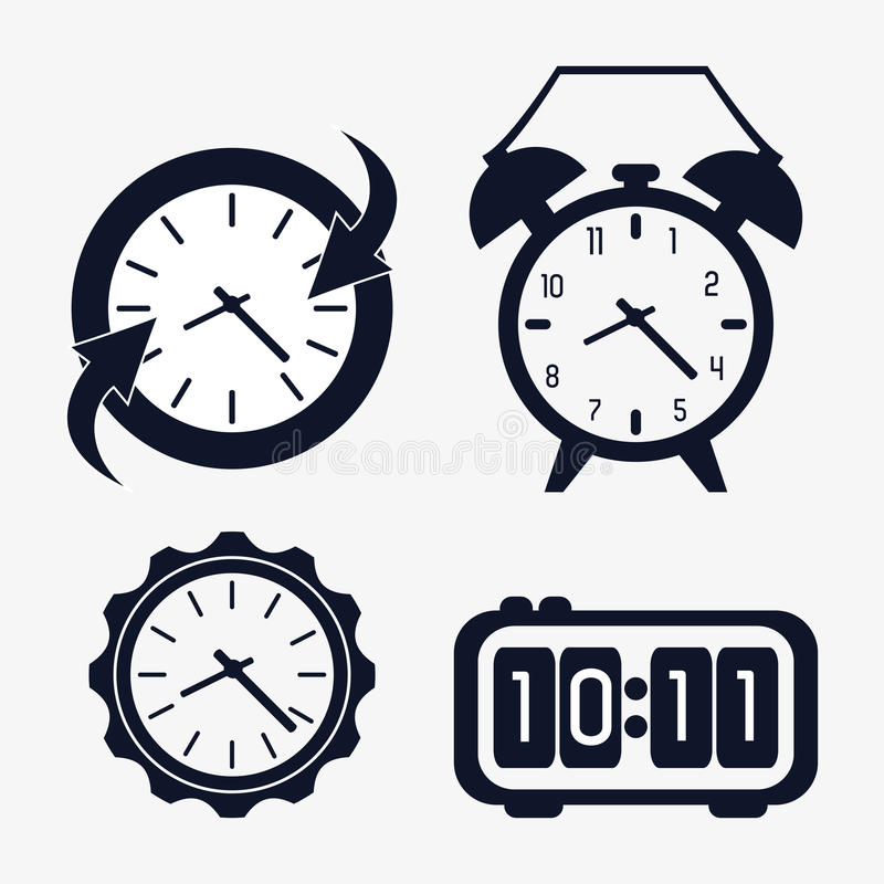Icon set of silhouette Clocks. Time design. Vector graphic. Time concept represented by icon set of silhouette Clocks. Isolated and flat illustration stock illustration