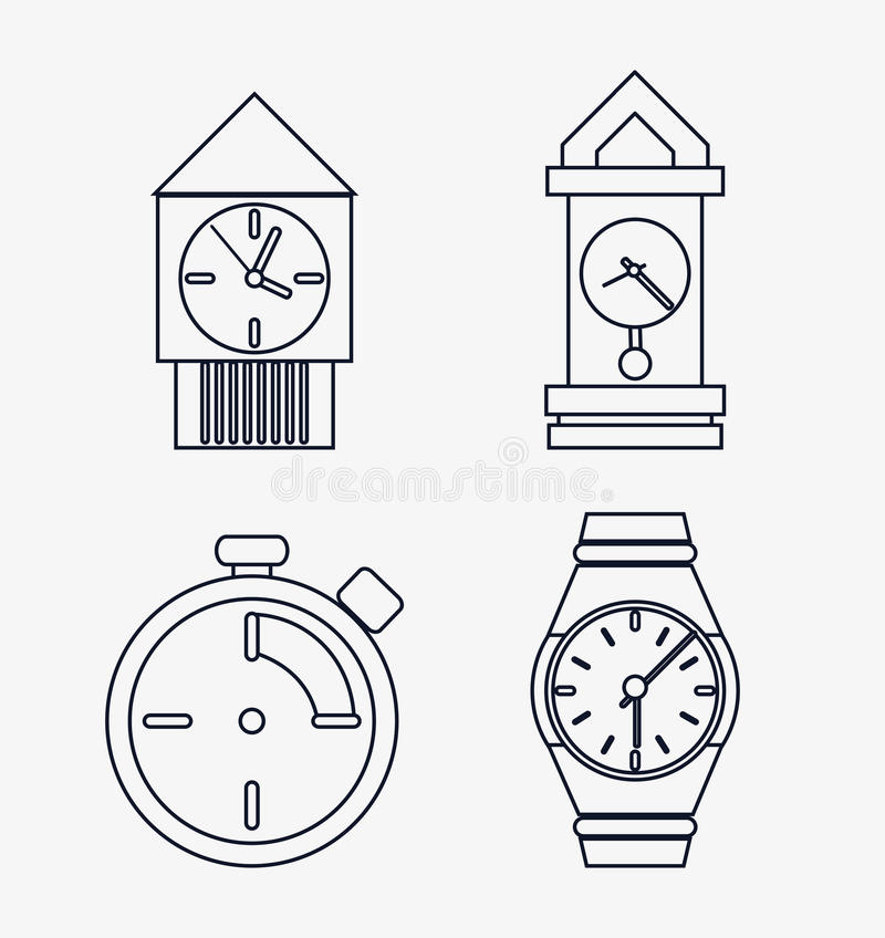 Icon set of silhouette Clocks. Time design. Vector graphic. Time concept represented by icon set of silhouette Clocks. Isolated and flat illustration royalty free illustration