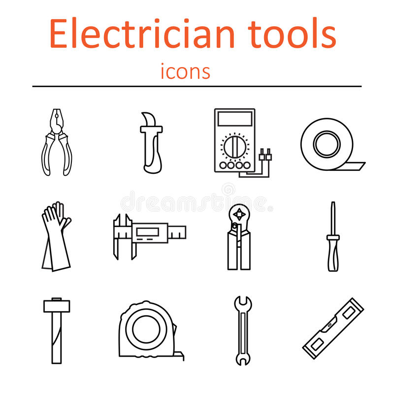 icon set of tools electrician stock vector illustration of rh dreamstime com Building Security Diagram Electric Motor Diagram