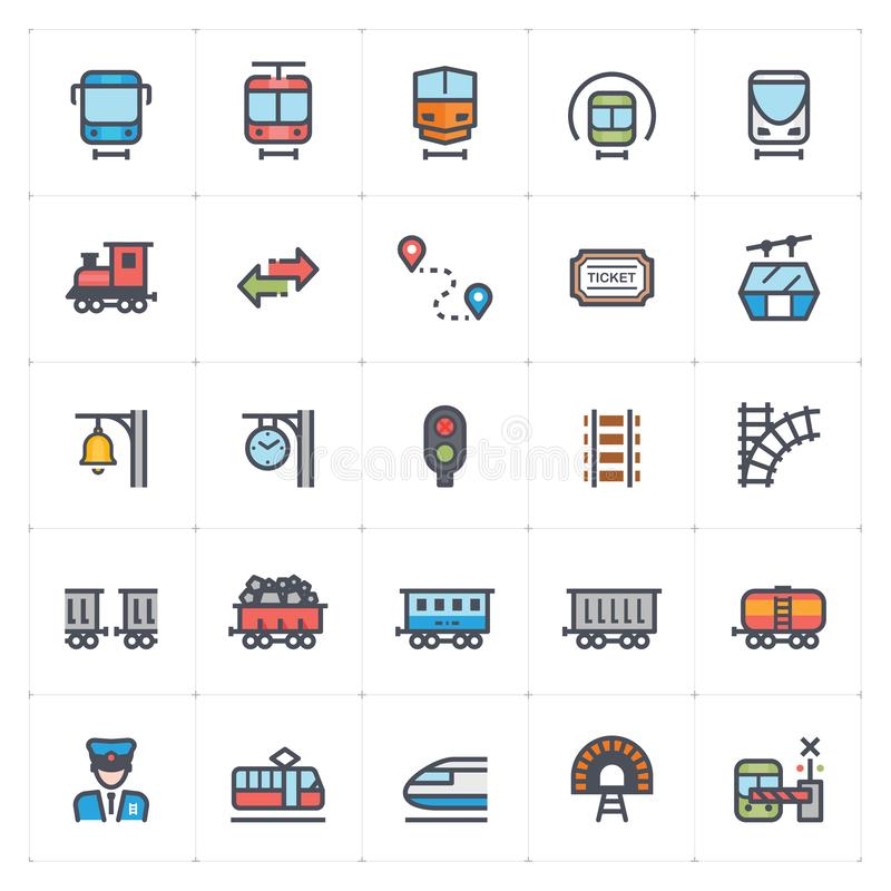 Icon set – train and transport full color vector illustration vector illustration