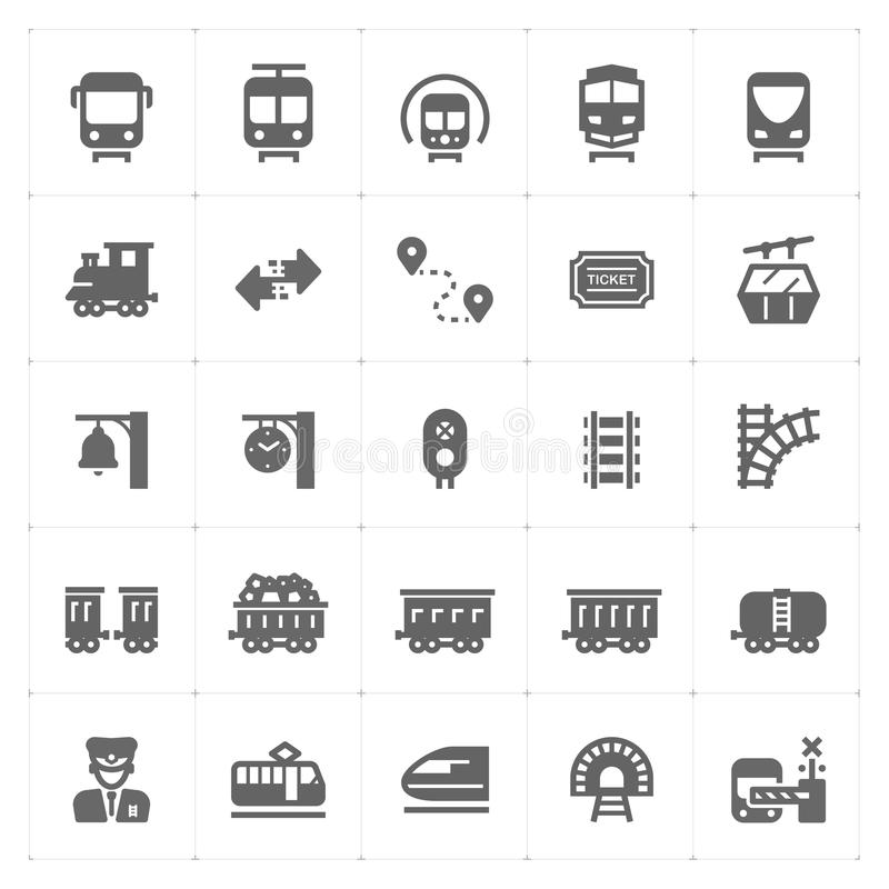 Icon set - train and transportation filled icon royalty free illustration