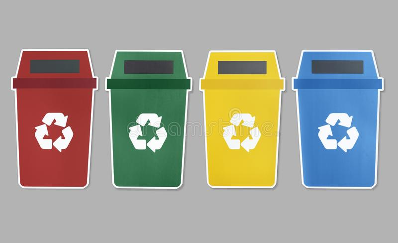 Icon set of trash with recycle symbol stock illustration