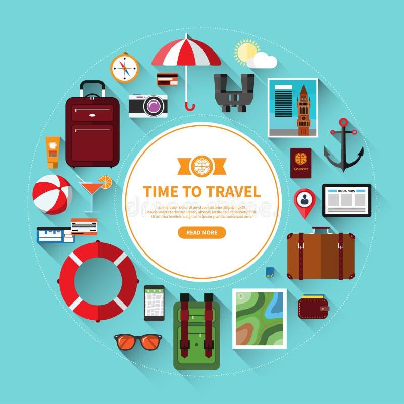 Icon set of traveling, tourism, vacation planning stock illustration