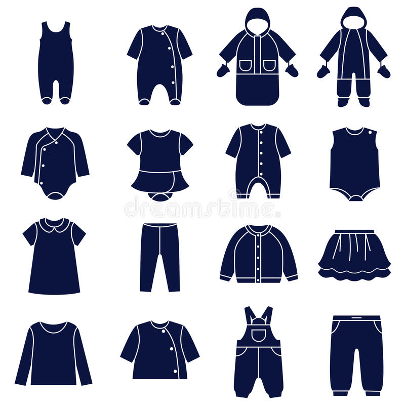 Icon set of types of clothes for babies. There are all season casual clothes for babies royalty free illustration