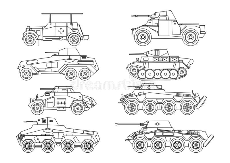 Icon set of Vector - Vector black and white illustration of heavy tank stock illustration