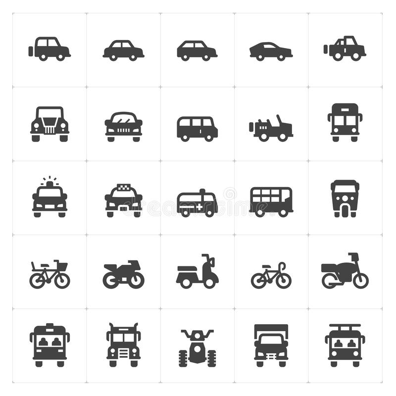 Icon set - vehicle and transport filled icon royalty free illustration