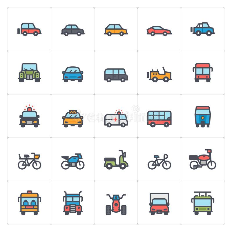 Icon set – vehicle and transport full color stock illustration