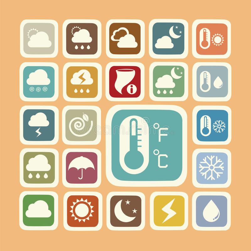 Icon set of weather sticker stock images