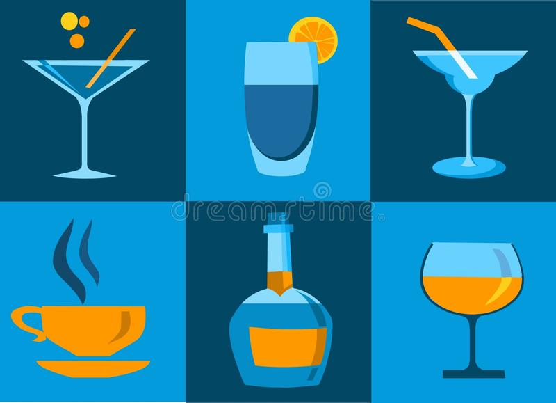 Icon set of whiskey bottle and glasses stock illustration