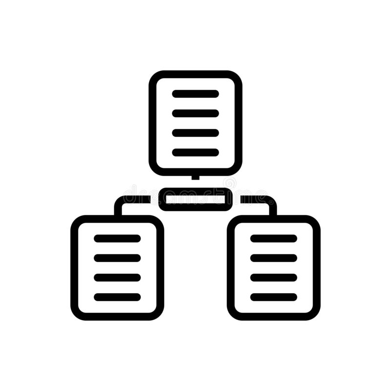 Black line icon for Sharing Archives, sharing and archives stock illustration