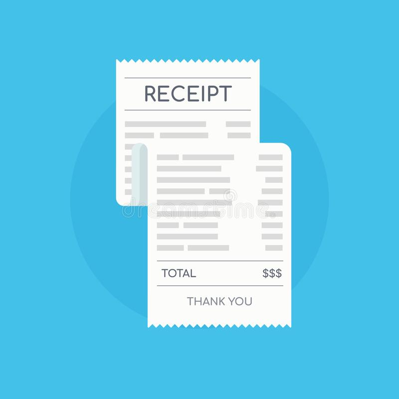 Icon shopping receipt. Invoice sign. Paying bills. stock illustration