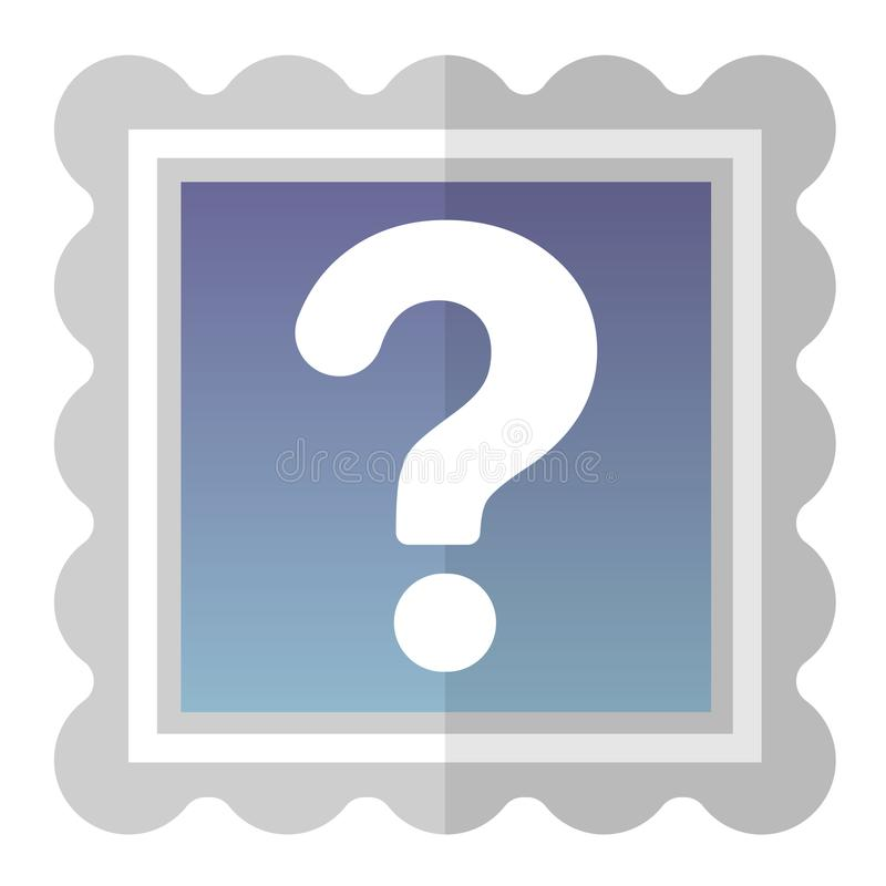 Icon with a silver frame with a white question mark inside. vector illustration