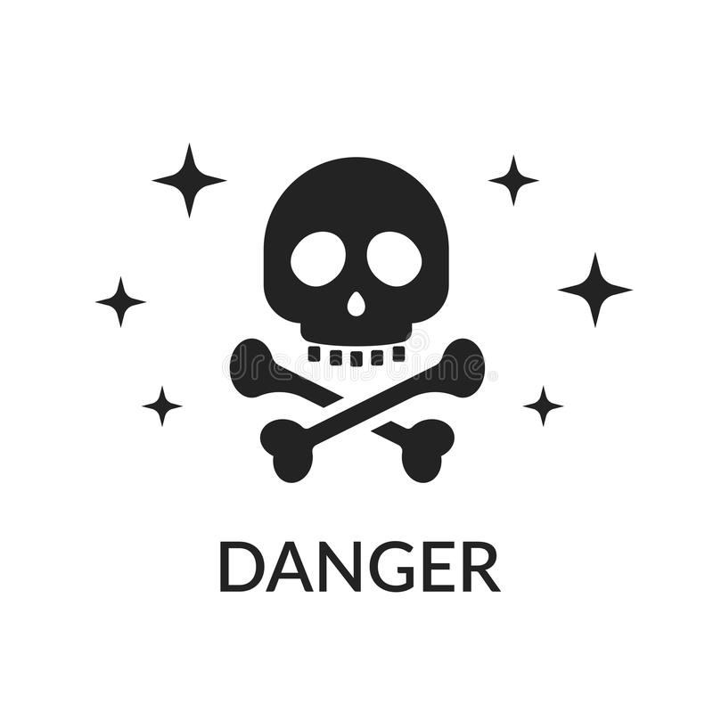 Icon skull and bones. Sign of danger. Do not get in the way of killing. Pirate sign or cheerful rodger isolated on white royalty free illustration