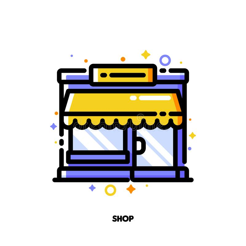 Icon of small shop building or boutique with showcase for shopping and retail concept. Flat filled outline style. Pixel perfect stock illustration