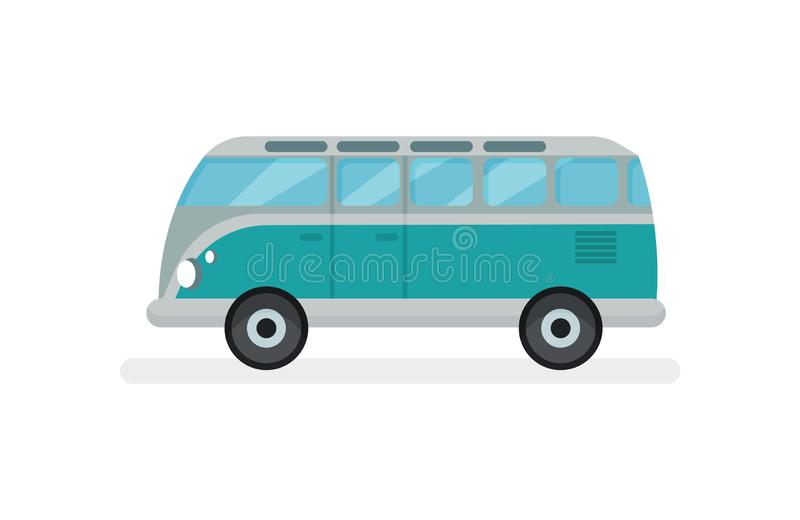 Flat vector icon small retro van. Motor vehicle for road trip. Urban transport. Automobile theme. Icon small turquoise retro van, side view. Motor vehicle for stock illustration