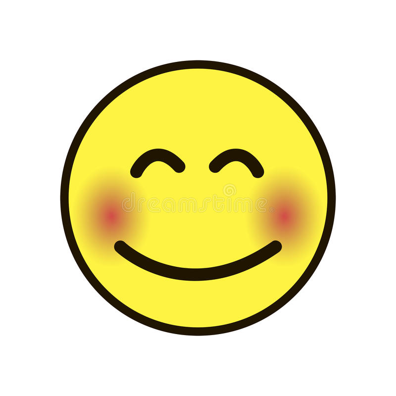 Icon Smile Smiley Yellow On A White Background Stock