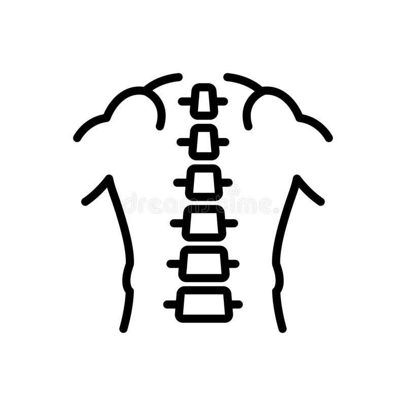 Black line icon for Spine, chiropractic and orthopedic. Black line icon for Spine, pain, backpain, sickness, joint,  chiropractic and orthopedic vector illustration