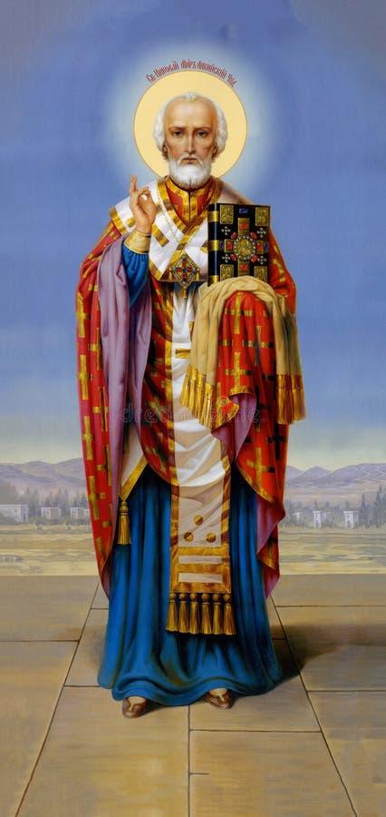 Icon of St. Nicholas the Wonderworker royalty-vrije stock fotografie