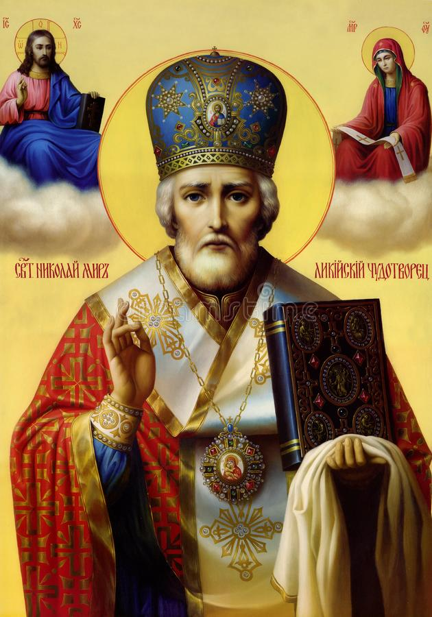 Icon of St. Nicholas the Wonderworker royalty-vrije stock afbeeldingen