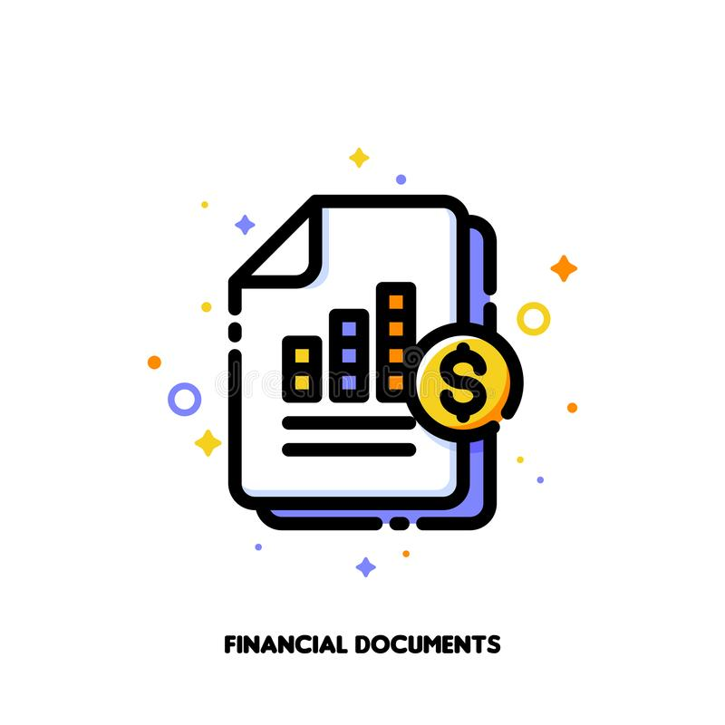 Icon of stacked paper documents pile with business report bar graph for stock market or financial statement analysis concept. Flat filled outline style. Pixel royalty free illustration