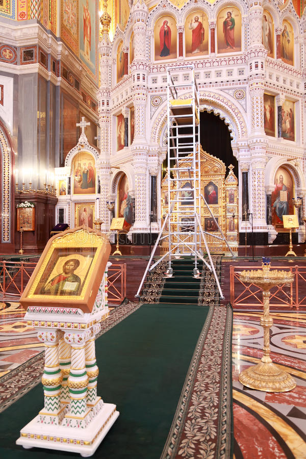 Icon And Stairs For Restoration Inside Cathedral Royalty Free Stock Photos