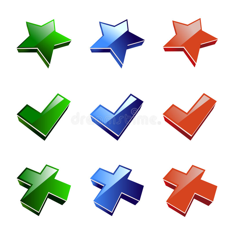 Icon star, cross, accept vector illustration