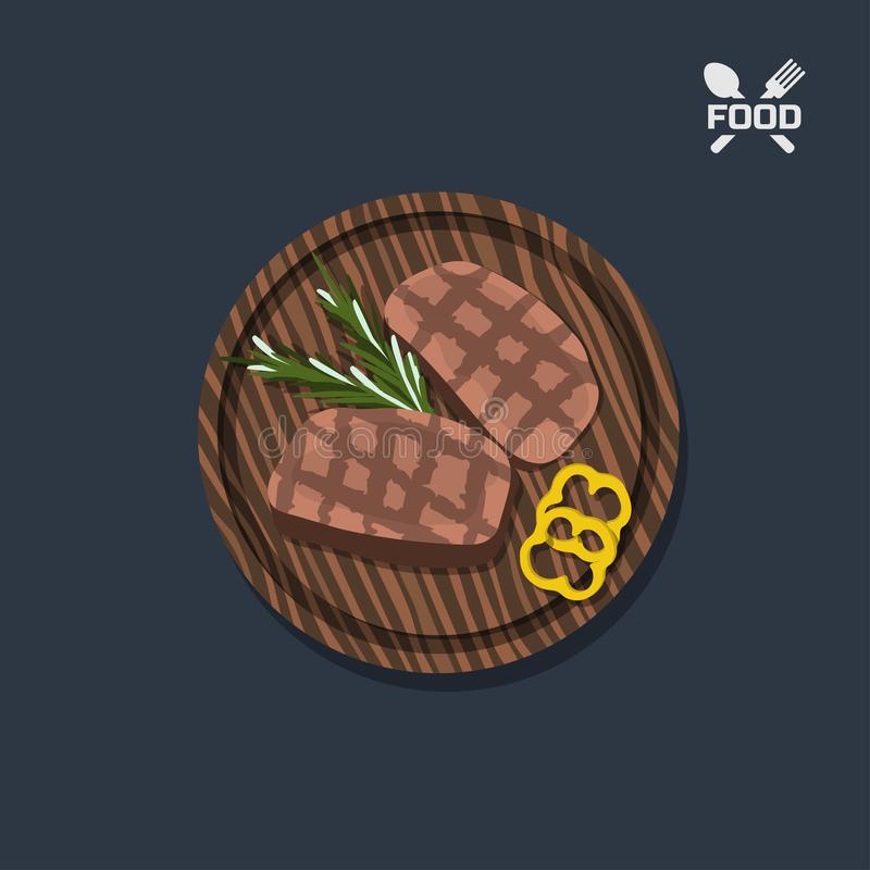 Icon of steak on a wooden plate. Top view. Restaurant dish. Meat food. Image of barbecue beefsteak. Vector illustration vector illustration
